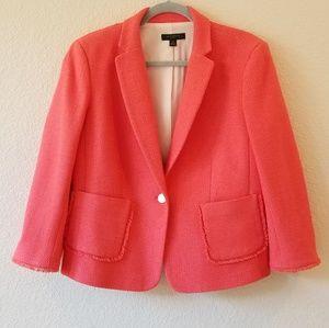 Ann Taylor coral tweed fringe blazer size 14p